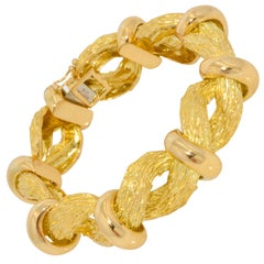 Cartier 18 Karat Yellow Gold Textured Twist Vintage Bracelet