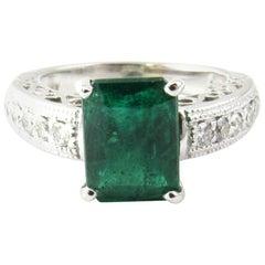 14 Karat White Gold Emerald and Diamond Ring