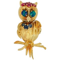 Vintage 1950s Retro Brooch Pin Italy Gold Owl Natural Opal, Ruby, Sapphire