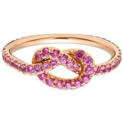 18 Karat Large Pink Sapphire Love Knot Ring