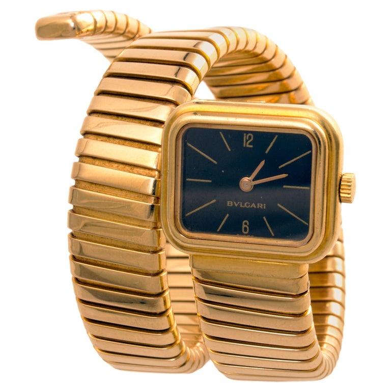 1970s Rare Design Bulgari Serpenti Tubogas Gold Watch For Sale