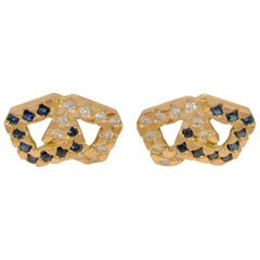 Cartier Diamond Sapphire 18 Karat Yellow Gold Cufflinks
