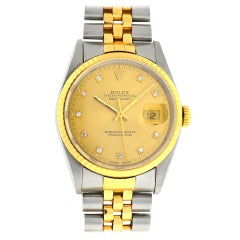 Rolex Yellow 16233 Two-Tone Datejust Factory Diamond Dial Watch