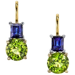 Round Peridot with Emerald Cut Sapphire 18 Karat White and Yellow Gold Earrings
