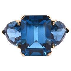 10 Karat Yellow Gold London Blue Topaz Ring