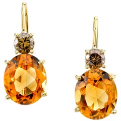 Citrine and .87 Carat Chocolate/Cognac Color Diamonds 18K Yellow Gold Earrings