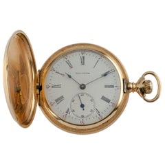Waltham Full Hunter 14 Karat Yellow Gold Pocket Watch 15J Seaside, 1900