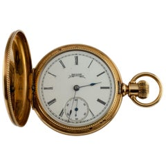 Elgin Full Hunter 14 Karat Yellow Gold Pocket Watch 7 Jewel Guilloche Case