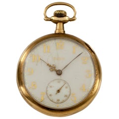 Elgin Open Face 14 Karat Yellow Gold Pocket Watch 15 Jewel Grade 315