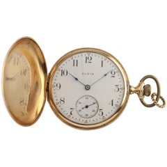 Elgin Antique Full Hunter 14 Karat Yellow Gold Pocket Watch Gr 339 17-Jewel