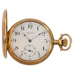 Waltham Full Hunter 14 Karat Yellow Gold Pocket Watch 15 Jewel Grade 220
