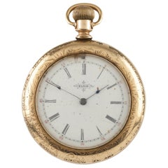 Elgin Open Face 14 Karat Yellow GF Antique Pocket Watch Gr 117 17 Jewel, 1897