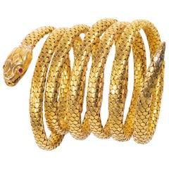 Rare Extra Long 7 Coil French 1880s Victorian 18kt Gold Anaconda Snake Bracelet