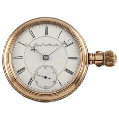 Elgin Antique Open Face Gold Filled Pocket Watch Gr 27 15 Jewel