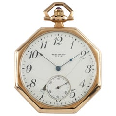 Waltham Octagon Antique 14 Karat Open Face Pocket Watch Gr 225 17 Jewel