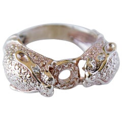 White Diamond Jaguar Head Bronze Ring