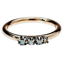 Multi-Stone Opal Silver Bronze Ring J Dauphin