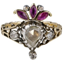 Crowned Heart Diamond Ruby Rare Ring