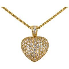 Spectacular Quality French 2.80 Carat Diamond Heat Pendant Chain
