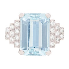 Art Deco Style 5.60 Carat Aquamarine and Diamond Dress Ring