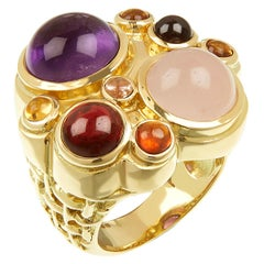 18 Carat Yellow Gold and Multi-Gemstone Cabochon 'Ice Cream' Cocktail Ring