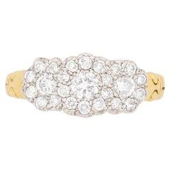 0.62 Carat Round Brilliant Cut Diamond Cluster Ring, circa 1950s
