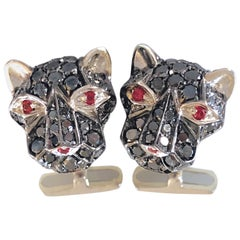 3.65 Carat Black Diamond Red Ruby Eyes Cougar Head Shaped White Gold Cufflinks
