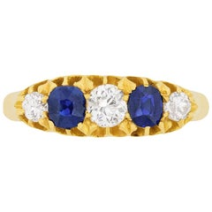 Victorian Sapphire and Diamond Five-Stone Ring, circa 1890