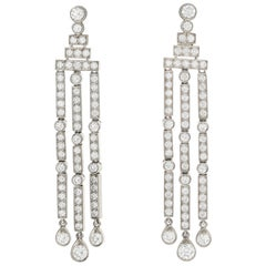 Tiffany & Co Jazz Triple-Bar Diamond Drop Earrings in Platinum