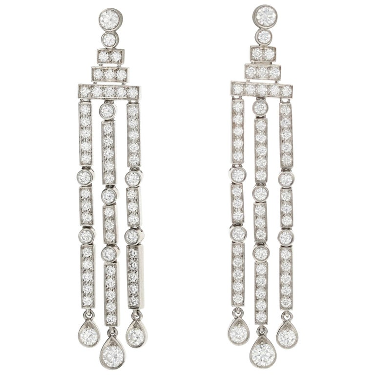 04adcda10 Tiffany and Co Jazz Triple-Bar Diamond Drop Earrings in Platinum For ...