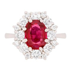 Vintage Ruby and Diamond Cluster Ring, circa 1950s