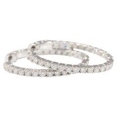 Diamond Hoop Earrings Oval Shape 14 Karat White Gold 1.49 Carat