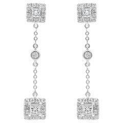 Princess Cut Diamond Halo Dangle Earrings