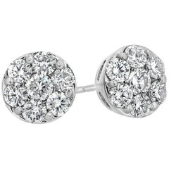 1.75 Carat Total Diamond Cluster Stud Earrings