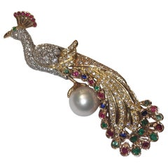 Diamonds and Precious Stones Peacock Brooch
