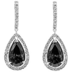 Pear Shape Black Diamond Halo Drop Earrings