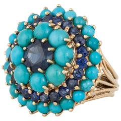 Turquoise and Sapphire Cluster Ring in 18K Gold