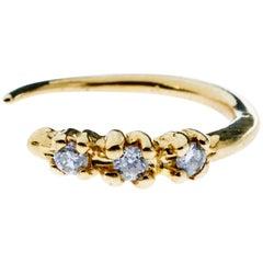 White Diamond Gold Earring Piercing Hook J Dauphin