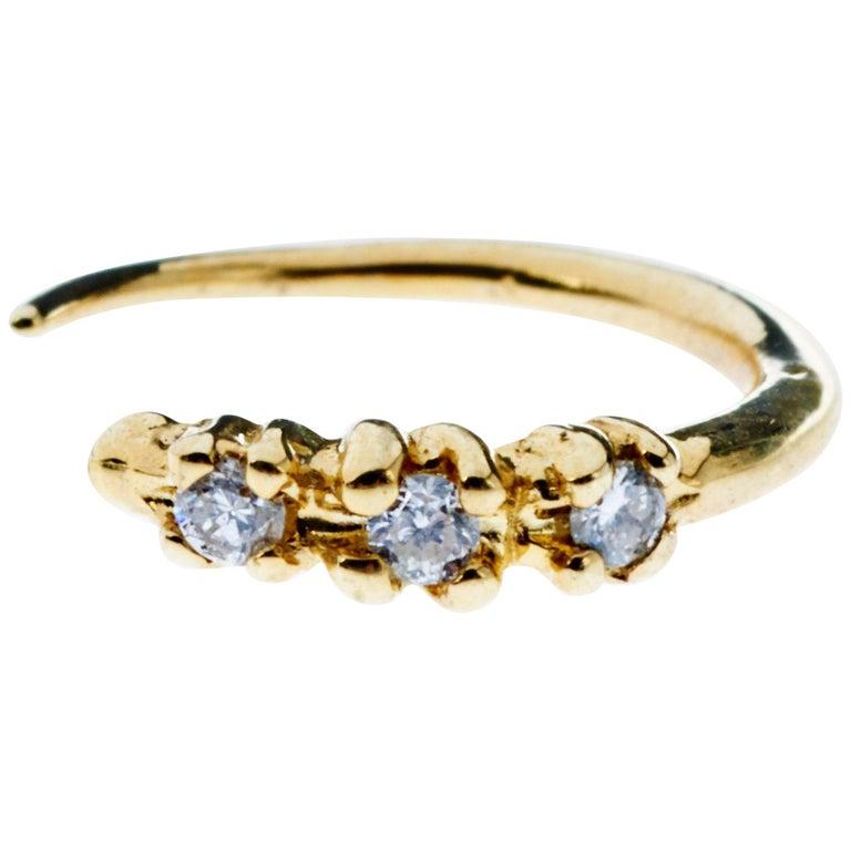 White Diamond Gold Earring Piercing Hook J Dauphin For Sale