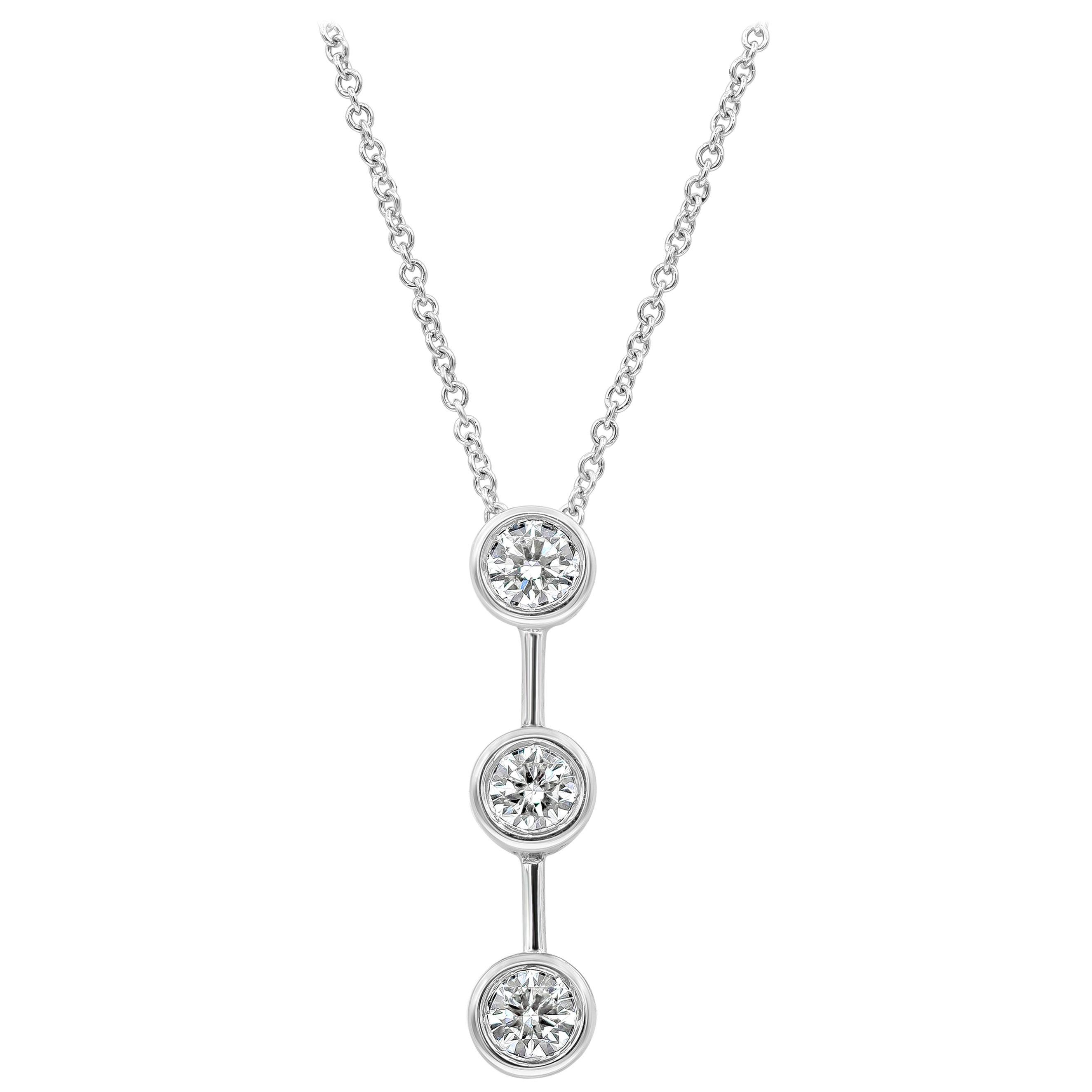 Roman Malakov, Round Diamond Three-Stone Drop Pendant Necklace