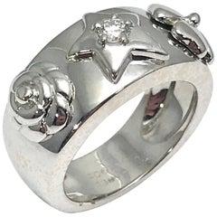 Chanel Camelia Diamond Star, Flower and Clove 18 Karat White Gold Ring