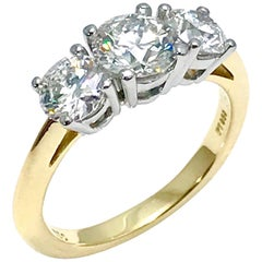 Tiffany & Co. 1.82 Carat Total Three Diamond Platinum and Yellow Gold Ring