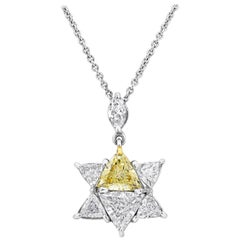 Yellow and White Trillion Diamond Star Pendant Necklace