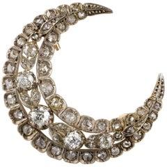 French 3.60 Carat Diamond Crescent Moon Brooch Pendant