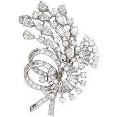 Retro Platinum 8 Carat Total Diamond Brooch, circa 1950s