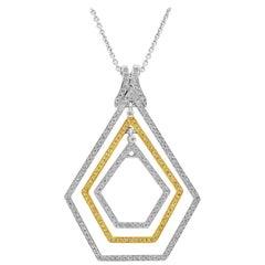 Open-Work Diamond Pentagon Pendant Necklace