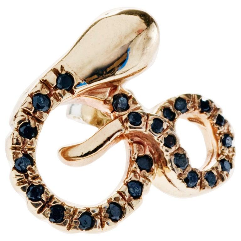 Black Diamond Emerald Gold Snake Earring Bronze J Dauphin For Sale