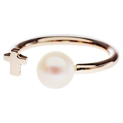 Pearl Gold Ring Cross Cocktail Ring J Dauphin