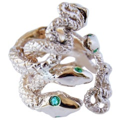 Emerald Snake Ring Statement Cocktail Bronze J Dauphin