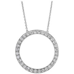 Open-Work Diamond Circle Pendant Necklace